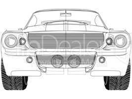 sport car front sketck against white