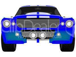 blue sport car front isolated on white