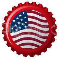 united states stylized flag on bottle cap