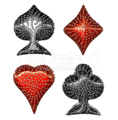 Card suits incrusted with diamonds