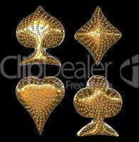 Golden Card suits inlaid with diamonds
