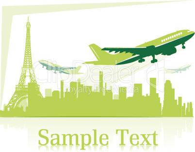 Flugzeuge und Stadtsilhouette