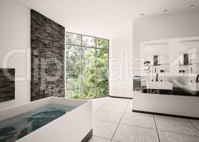 Modern bathroom interior 3d render