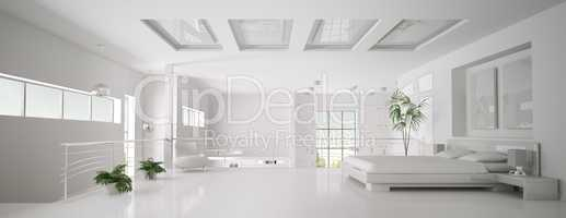 White bedroom interior panorama 3d render