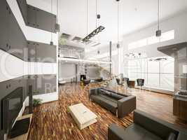 Modern apartment interior 3d