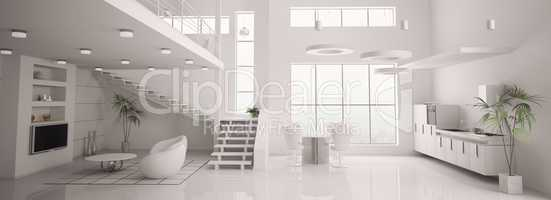 White modern interior panorama 3d render