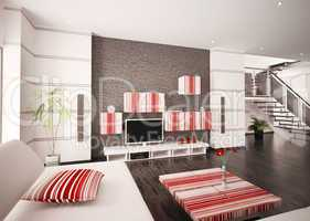 Modern living room interior 3d render