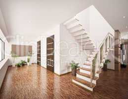 Interior of modern entrance hall 3d render
