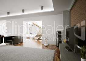 Living room with lcd interior 3d render