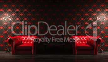 Two red leather armchairs,table  3d render