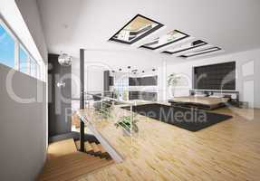 Interior of modern bedroom 3d