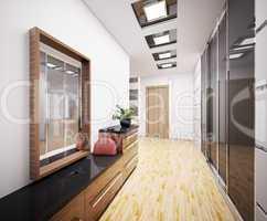 Modern vestibule interior 3d
