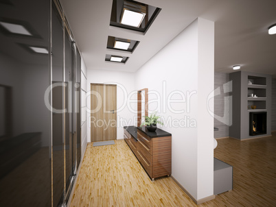 Interior of modern entrance hall 3d