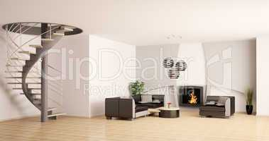 Modern living room interior with stair and fireplace 3d