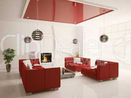 Modern living room interior with fireplace 3d