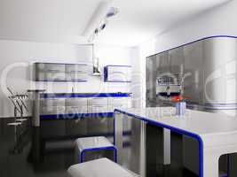 Interior of gray blue kitchen 3d