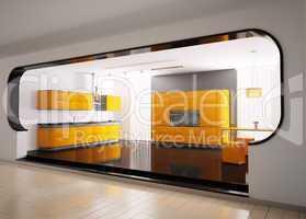 Orange gray kitchen 3d
