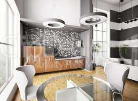 Interior of modern kitchen 3d