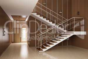 Interior of hall with stairs 3d render