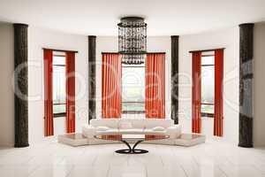 Round room interior 3d