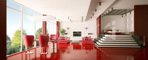 Modern apartment interior panorama 3d render