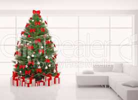 Christmas tree with red decorations in white interior 3d render