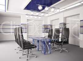 Modern boardroom with glass table interior 3d