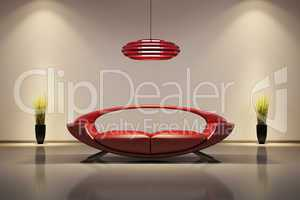 Interior with red sofa 3d