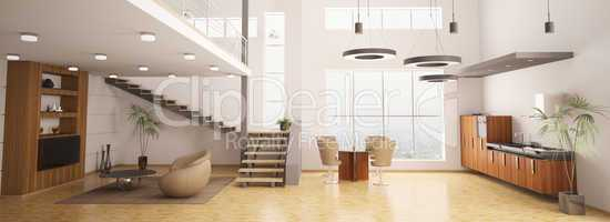Modern interior of apartment 3d render