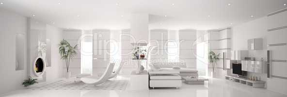 White apartment panorama interior 3d