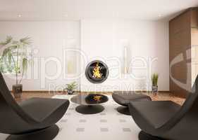 Modern interior of living room with fireplace 3d render