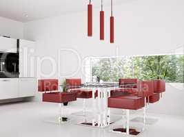 Interior of dining room 3d render