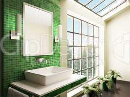 Bathroom with big window interior 3d