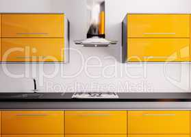Orange kitchen 3d