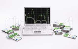 White laptop with chart and stacks of euros 3d