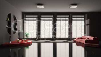 Black Living room with red sofa interior 3d