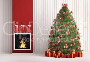 Christmas fir tree and fireplace 3d render