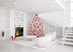 Christmas tree in the modern interior 3d render