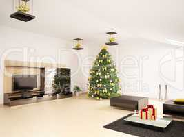 Christmas fir tree in modern living room interior 3d render