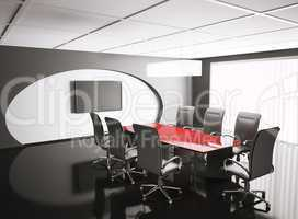conference room with lcd and red table 3d