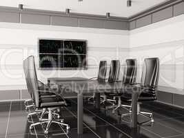 Modern boardroom with lcd interior 3d