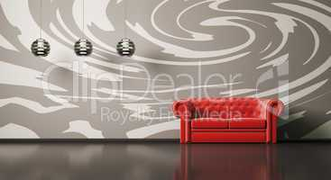 Red sofa in room interior 3d