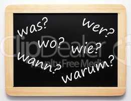 Die 6 W-Fragen - Konzept Tafel