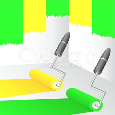 Yellow and green paint.