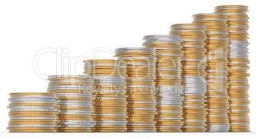 Growth: golden and silver coins stacks