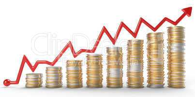 Growth: red graph over golden coins