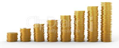 Progress and success: golden coins stacks