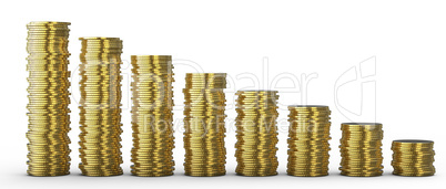 Progress or loss: coins stacks