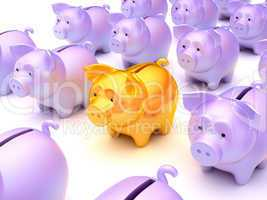 Right choice: Golden piggy bank