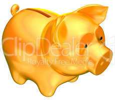 Wealth: Golden piggy bank isolated